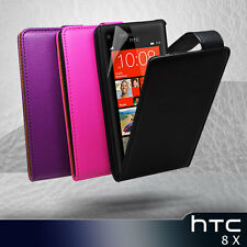 3 Colour Vertical Premium Flip Leather Case Cover for HTC 8X  8 X + Sceen Guard