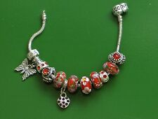 "7.5"" SOLID 925 SILVER EURO BRACELET SUMMER BUTTERFLY & HEART CHARMS & STOPPERS"