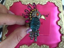 Betsey Johnson Caribbean Queen Crystal Parrot Cockatiel Bird Jelly Belly Ring