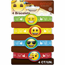 4 x Emoji Emoticon Rubber Bands Bracelets Kids Birthday Party Gifts Loot Favors