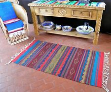 "Zapotec Native Mexica100% Wool Hand Woven Geometric Jewel Tone Rug 30"" X 60"" AG"