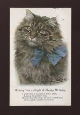 Animals CAT Birthday Greetings Artist Valter 1919 PPC