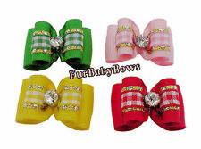 10 colorful Plaid Dog Pet Puppy Grooming bows Maltese Yorkie Biewer Poodle