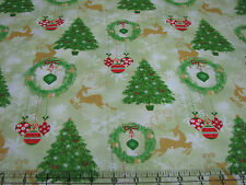 3 Yards Quilt Cotton Fabric - AE Nathan Christmas Reindeer Trees Ornaments Green