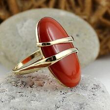pompöser Karneol Ring 30x20mm – Gold 375 / 9 K - orange RG 56 MDI *
