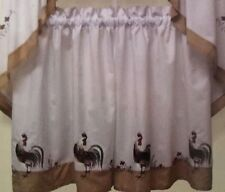 Arley Farmhouse Rooster Tier Set 36L Tan Kitchen Curtains