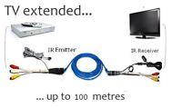 AV video audio extender IR Repeater Sender transmitter Via Cat5&6e For STB DVD