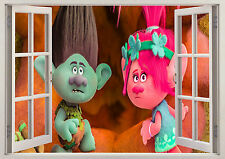 TROLLS EXPLORER WINDOW WALL STICKER 3D LOUNGE BEDROOM GIRLS BOYS KIDS