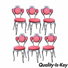 Set 6 Vintage Hollywood Regency Red Wrought Iron Ice Cream Parlor Dining Chairs