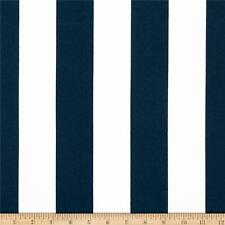 "Navy and White 2"" Deck Stripe OUTDOOR Fabric, Navy Upholstery Fabric by the Yard"