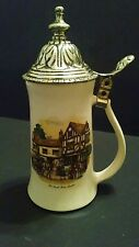 "Vintage Lidded BEER STEIN w/ Old Coach House Bristol Scene, 9.25"" tall, USA Made"
