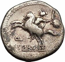 Roman Republic Hannibal 2nd Punic War Bravery Horseman 116BC Silver Coin i52624