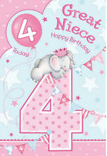 Great Niece 4th 4 Today Cute Elephant Crown & Bunting Design Happy Birthday Card