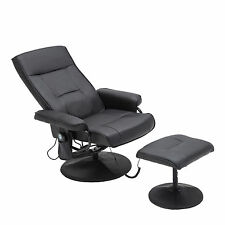 Massage Leisure Recliner Swivel Chair 8 Motor Leather w/ Ottoman Footstool Black