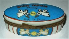 """LIMOGES BOX- CONTAINER OF HEAVENLY """"DIVIN CAPRICE"""" FRENCH CHEESE & KNIFE -ANGELS"""