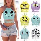 Summer Emoji Print Tank Top Women Vest Casual Blouse Sleeveless Crop T-Shirt Tee