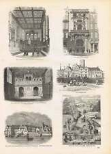 Engravings Smithfield 1554 Public Washing Grounds Leather Seller's Hall Mercers