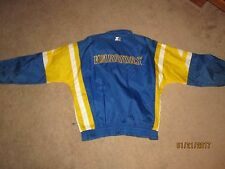 VINTAGE GOLDEN STATE WARRIORS STARTER JACKET SIZE L RAIN COAT HOOD IN NECK 1992
