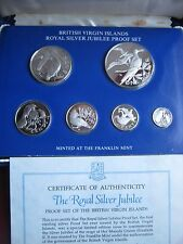 British Virgin Islands 1977 Proof Set all silver coins cased Silver Jubilee