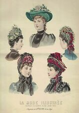 COSTUMES ROBES GRAVURE DE MODE EN COULEURS LA MODE ILLUSTREE 1889
