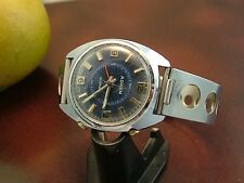 Vintage Swiss ADREM Alarm Men's Wristwatch  Old Stainless Steel Band  Runs