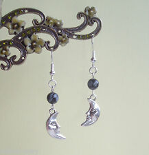 Crescent Moon Face Goddess Snowflake Obsidian Gemstone Drop Earrings
