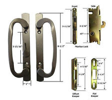 Patio Door Handle Kit Mortise Lock & Keepers, B-Position, Bronze, Non-Keyed
