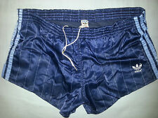 RARE SHINY NYLON BLUE NAVY VINTAGE ADIDAS WEST GERMANY SHORT SHORTS D6 DISCO