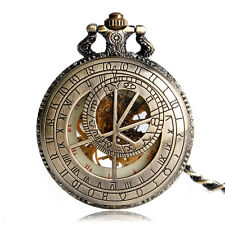 Bronze constellation compass chiffres romains mechanical hand-winding pocket watch