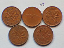 1962,1964,1964,1968,1967 Canada Canadian Small 1c  (One) Cent Coins Lot of 5