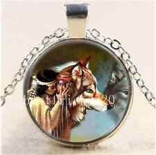 A Tribe Woman with Wolf Cabochon Glass Tibet Silver Chain Pendant Necklace