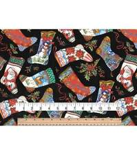 NEW!  Christmas Stockings on Black Cotton Fabric by the HALF YARD