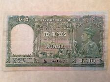 - 1938 Burma – Reserve Bank of India Ten 10 Rupees George VI P  # 5