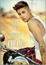 Justin Bieber Bike Birthday Card A5 Personalised with own words