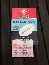 WRU Wales Rugby vs Barbarians Match Day Programme & Ticket Stub 1990