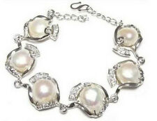 Real Natural White Baroque Pearl White Gold Plated Link Clasp Bangle Bracelet