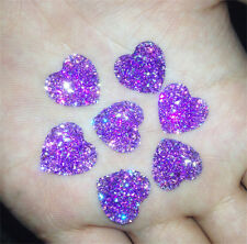 DIY NEW 20PCS Purple Resin Heart flatback Scrapbooking for phone/wedding/craft