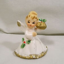 Napco Christmas Angel Figurine Holding Gold Bells X-6963, Napcoware Angels