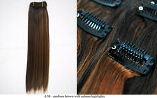 Recurlable Human Hair Mix Blend CLIP ON IN Extensions 10 pc - Yaki Straight 18""