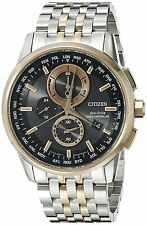 Citizen Perpetual Calender Black Two-Tone Stainless Steel Mens Watch AT8116-57E