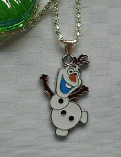 "Frozen necklace Olaf Snowman Disney silver plated 16"" kids children boys girls"
