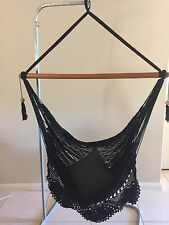 BLACK LARGE HANGING HAMMOCK CHAIR HANDMADE WITH CROCHET EDGE