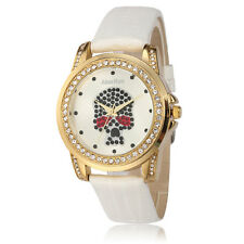 Alias Kim Skull Face Crystal Dial White Leather Bracelet Womens Lady Wrist Watch