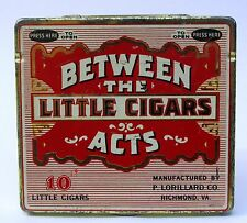 "BETWEEN THE ACTS LITTLE CIGARS ""Press Here"" tin litho can pocket container"