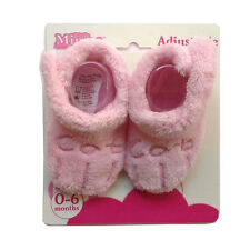 "NEW Adjustable Baby Girls Pink ""Cat"" Booties Socks Infant Size 0-6mo Soft Warm"