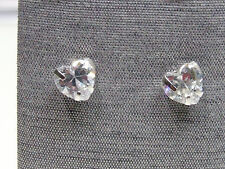Contemporary Rhodium Over Silver Heart Stud Solitaire Cubic Zirconia Earrings