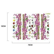 Purple Mini Flowers Fences Butterfly Decal Skirting Wall Sticker Decor 50cm*70cm