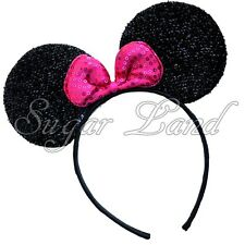 Minnie Mouse Headband Shiny Ears Black Pink Bows Party Costume Favors Mickey