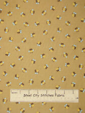 Little Brown Bear Baby Nursery Theme Bumble Bee Toss Brown Cotton Fabric YARD
