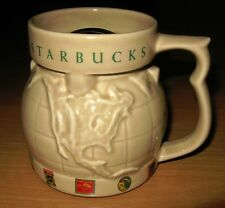 Starbucks In Relief World Globe Tan Coffee Mug Travel Chubby & Lid 16 oz